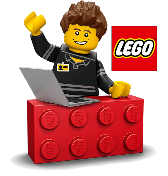 Lego figure and leog logo with link to lego kids website