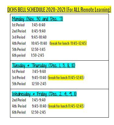 Remote Bell schedule Nov 30 - Dec 11