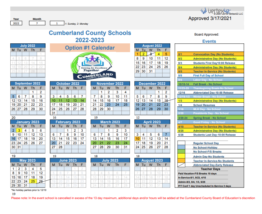 2022-2023 School Calendar Revised