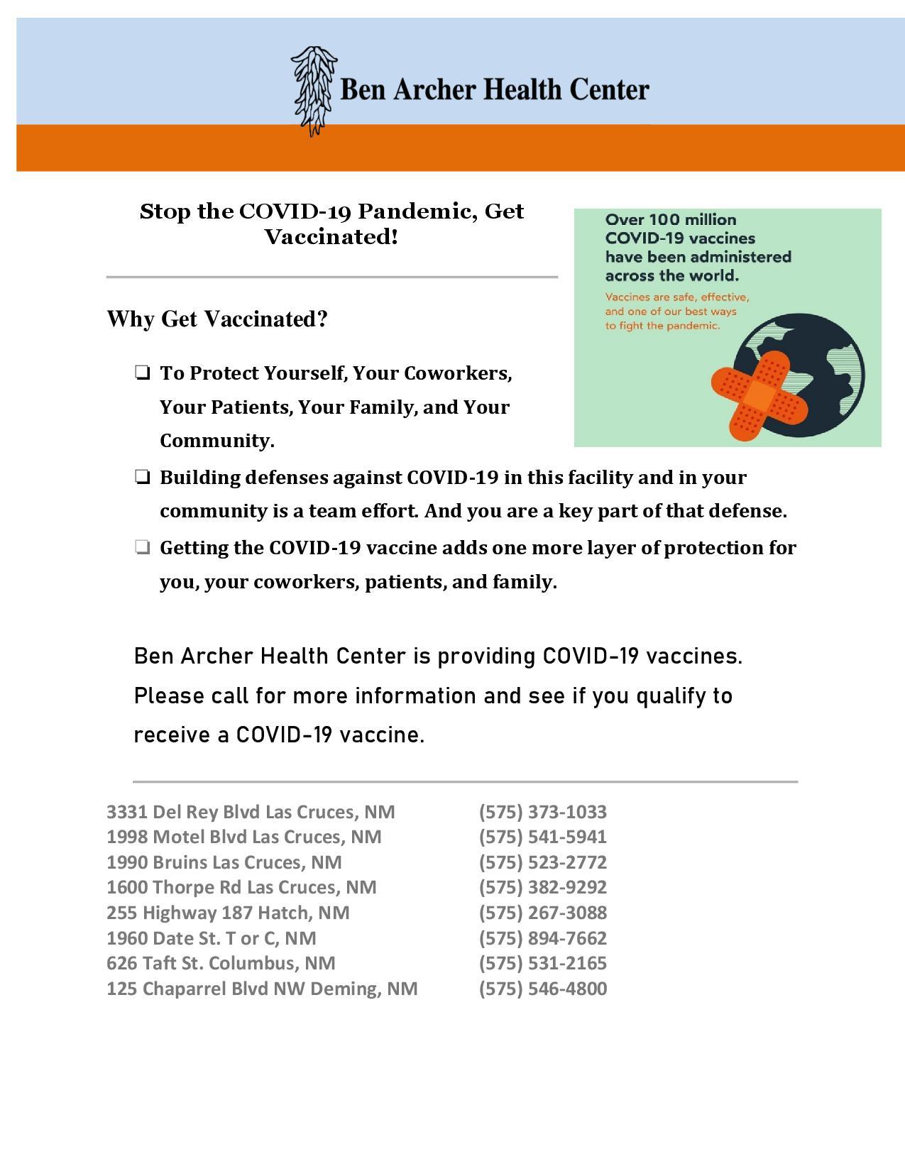 COVID-19  information flyer