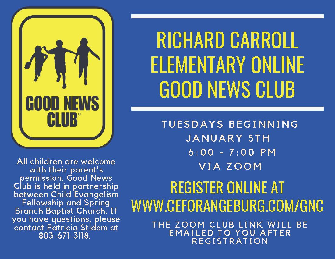 Good News Club Tuesdays 6:00 - 7:00 PM Via Zoom