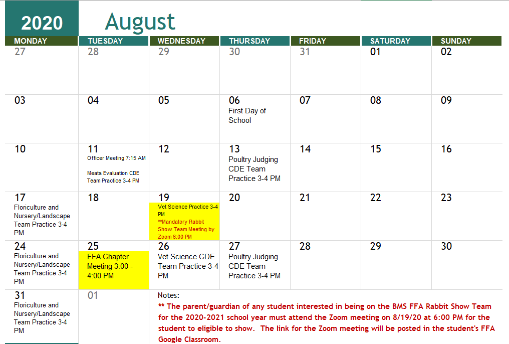 August 2020 BMS FFA Calendar of Events
