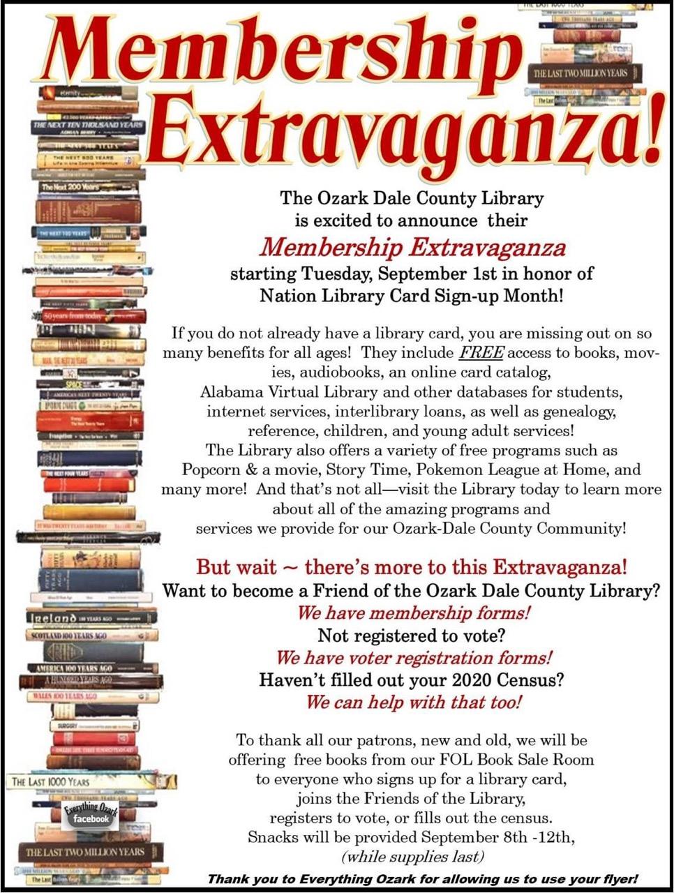 Ozark Library Membership Extravaganza!