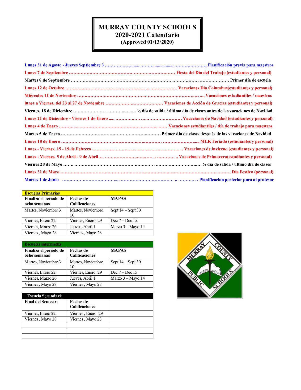 Murray County Schools Calendar- Spanish