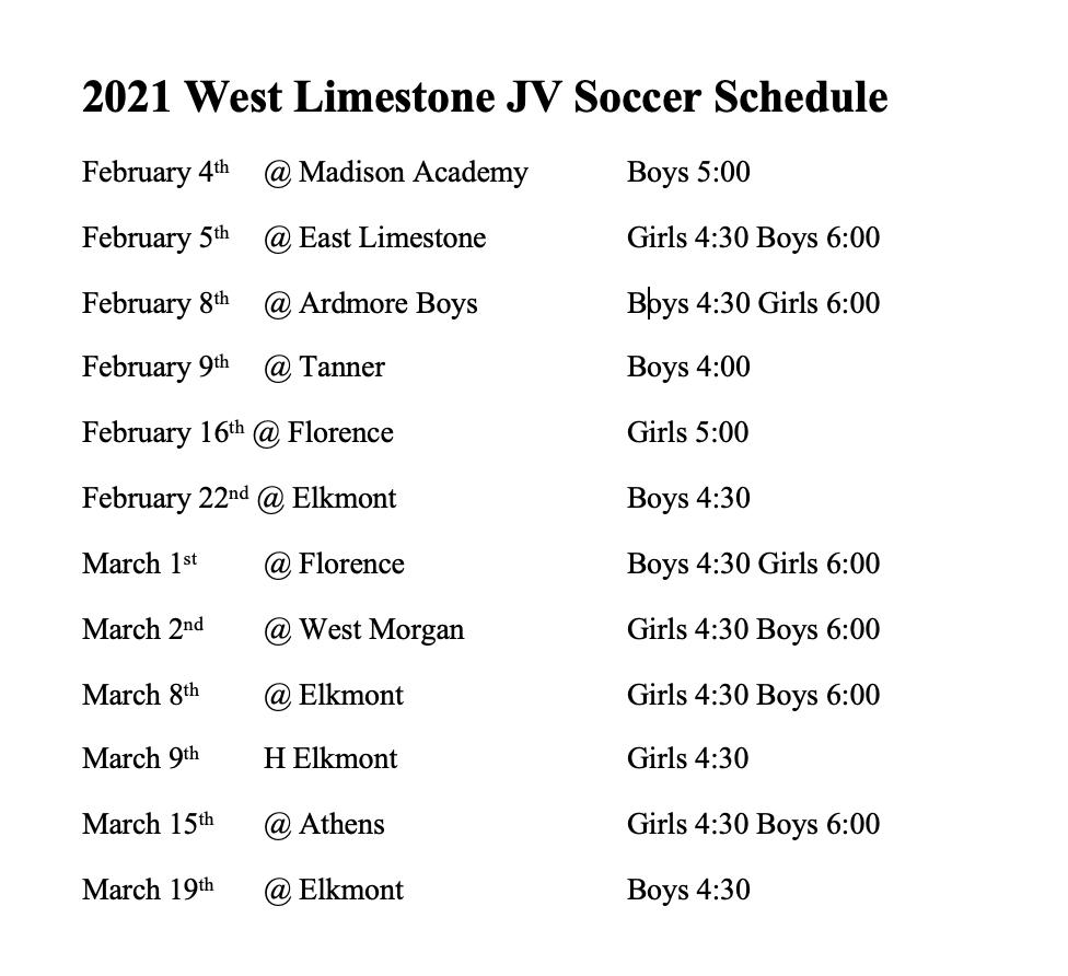 20-21 Soccer JV Schedule