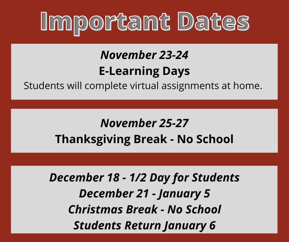 November and December Information