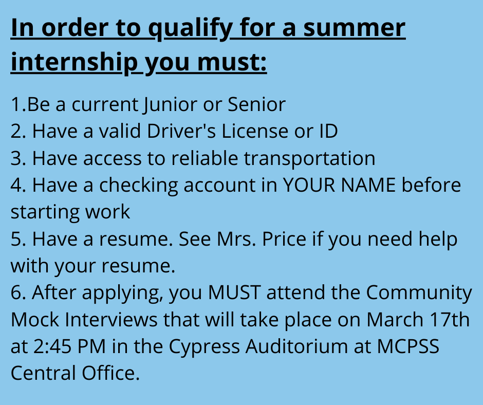 Summer Internship Requirements