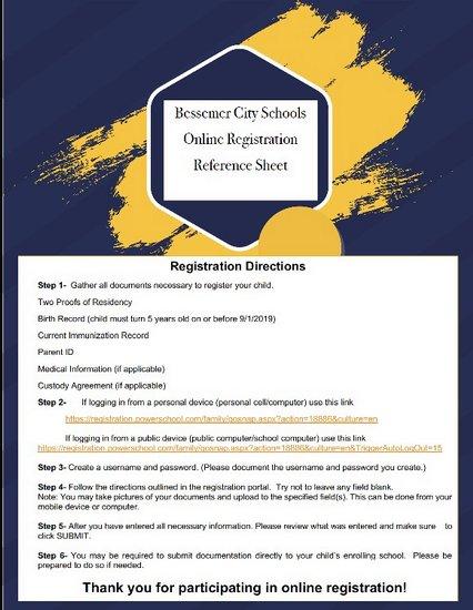 Online Registration Reference Sheet