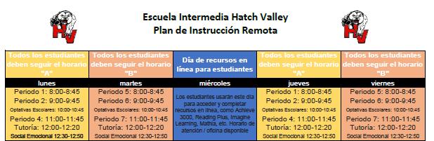 Schedule Spanish