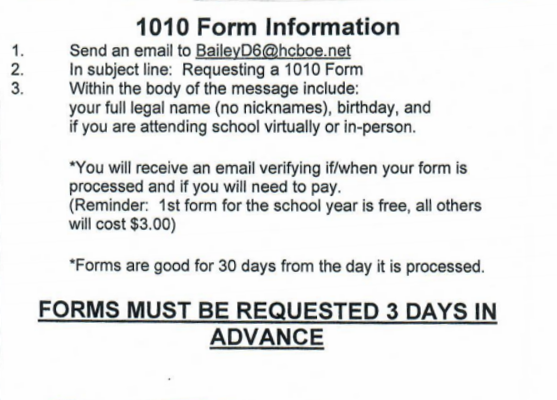 email BaileyD6@hcboe.net a need for 1010 form.
