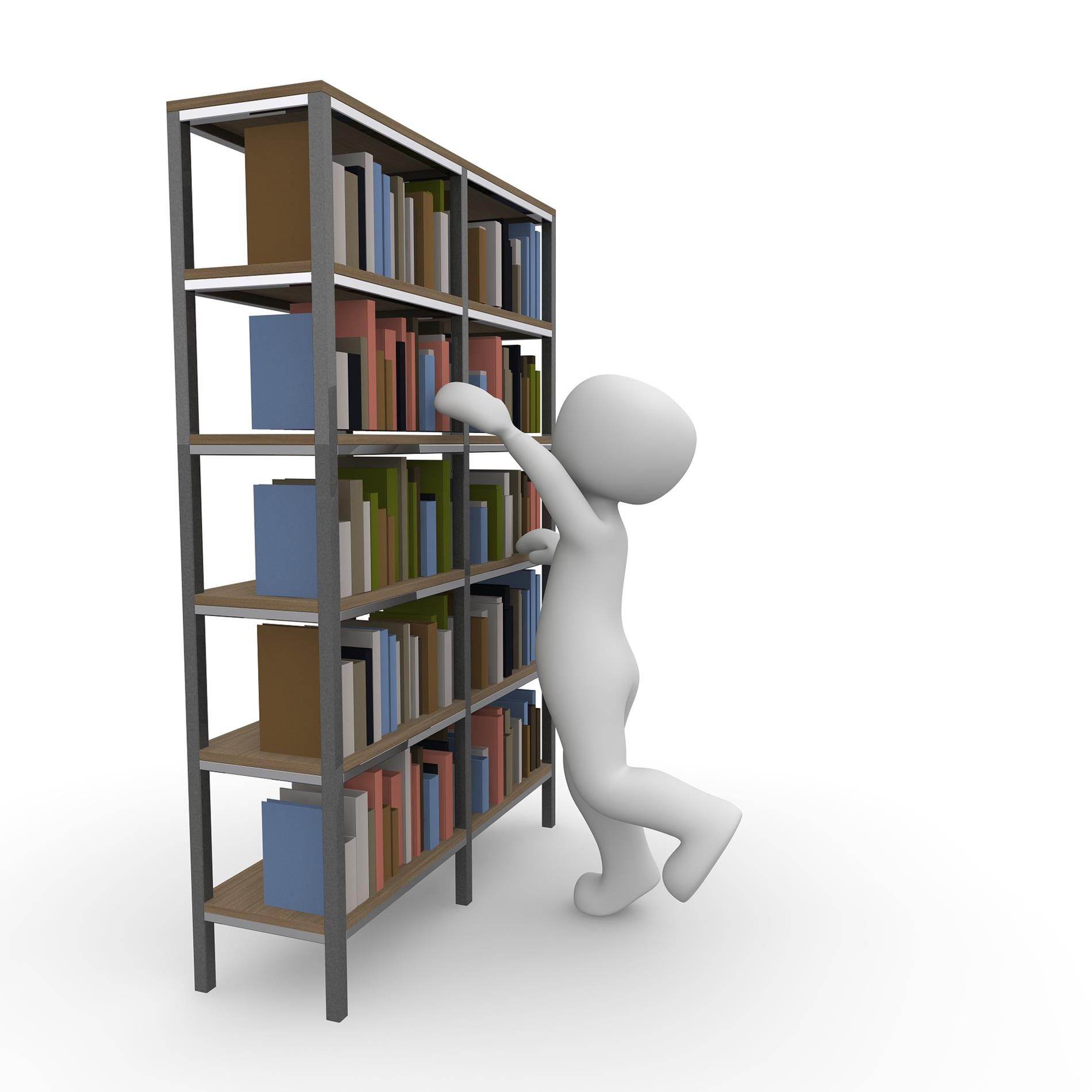 human figure reaching to pull book from bookshelf