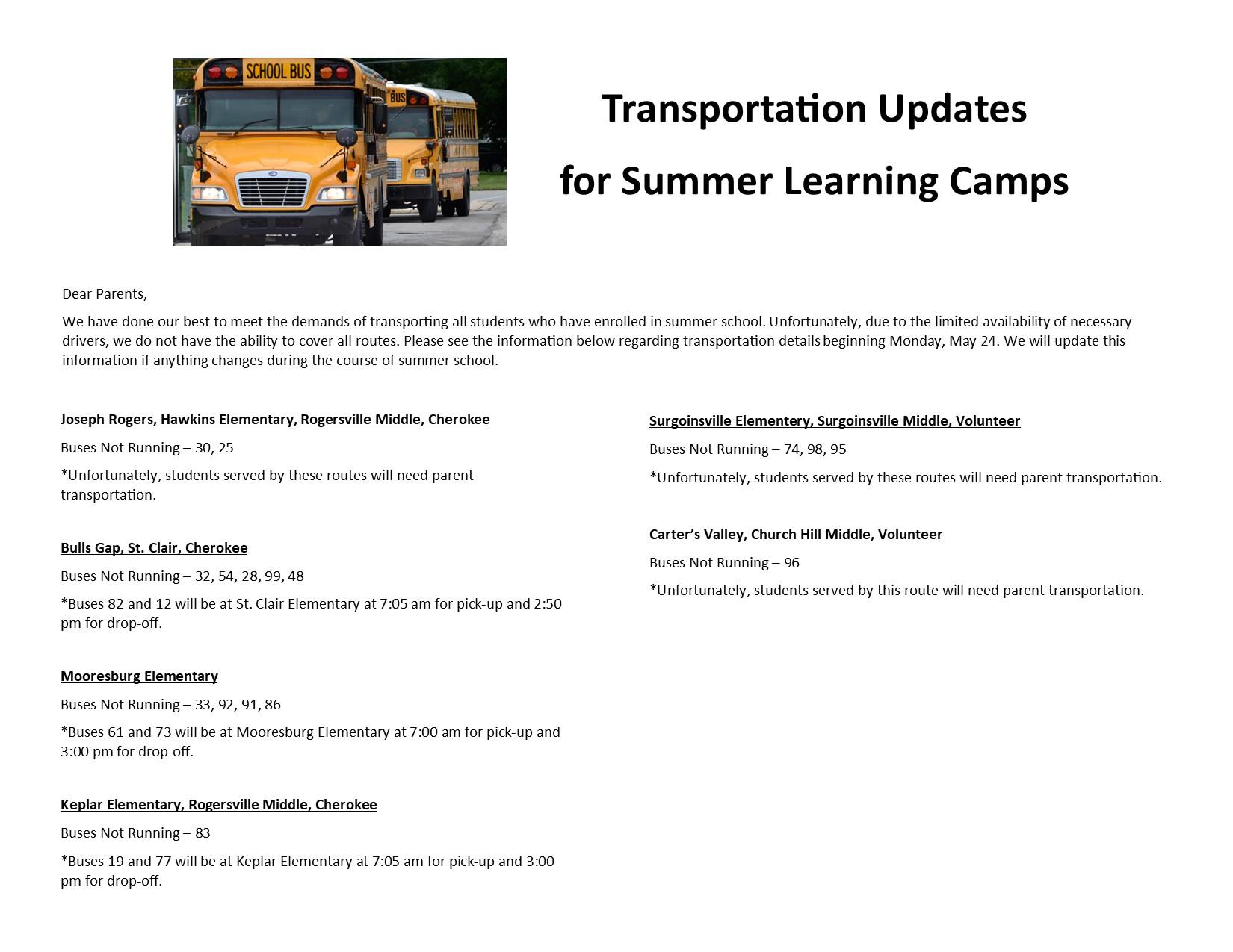 transportation for summer camps