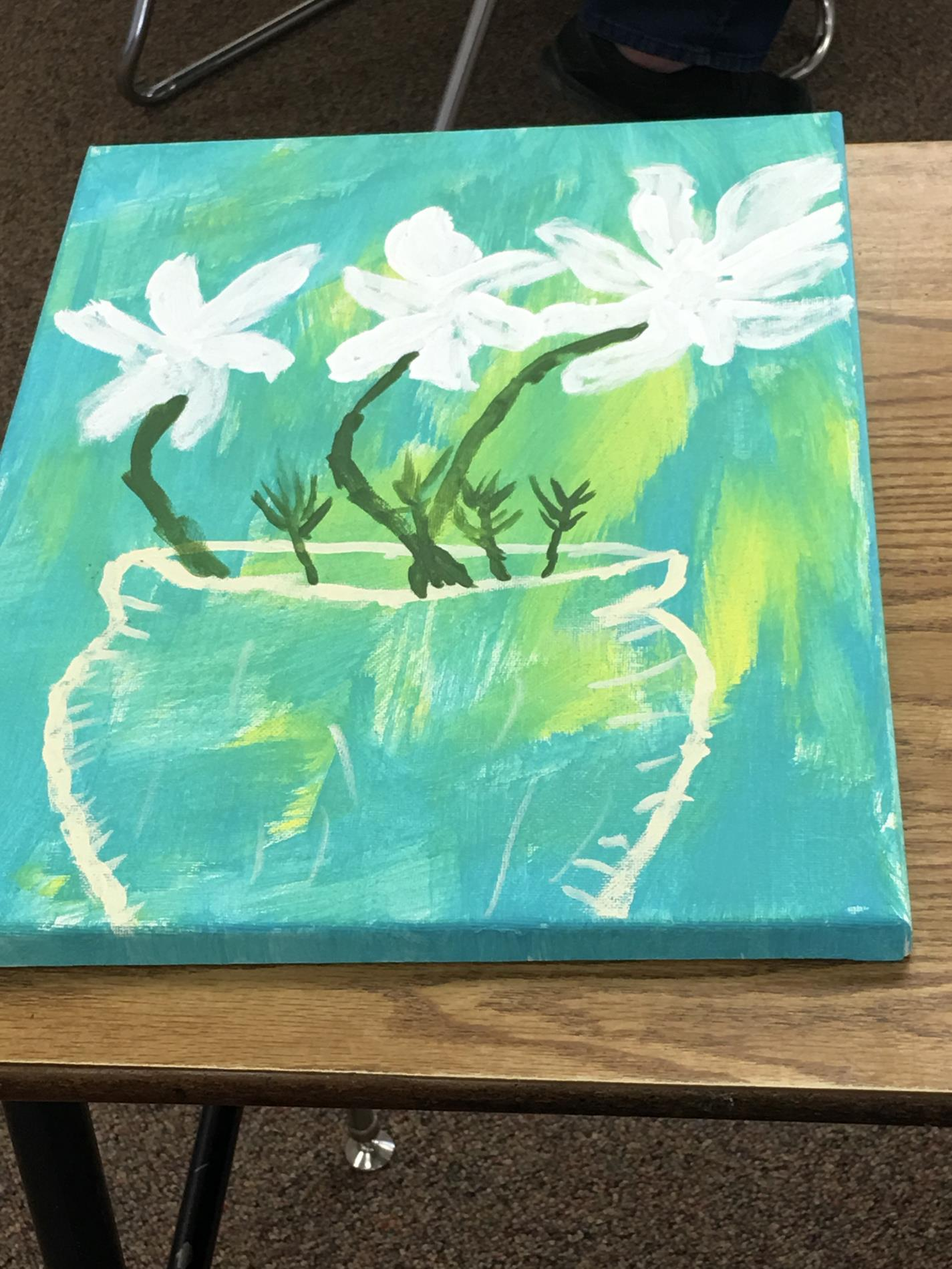Mrs. Closes class painting flowers in a vase 2018-2019 school year