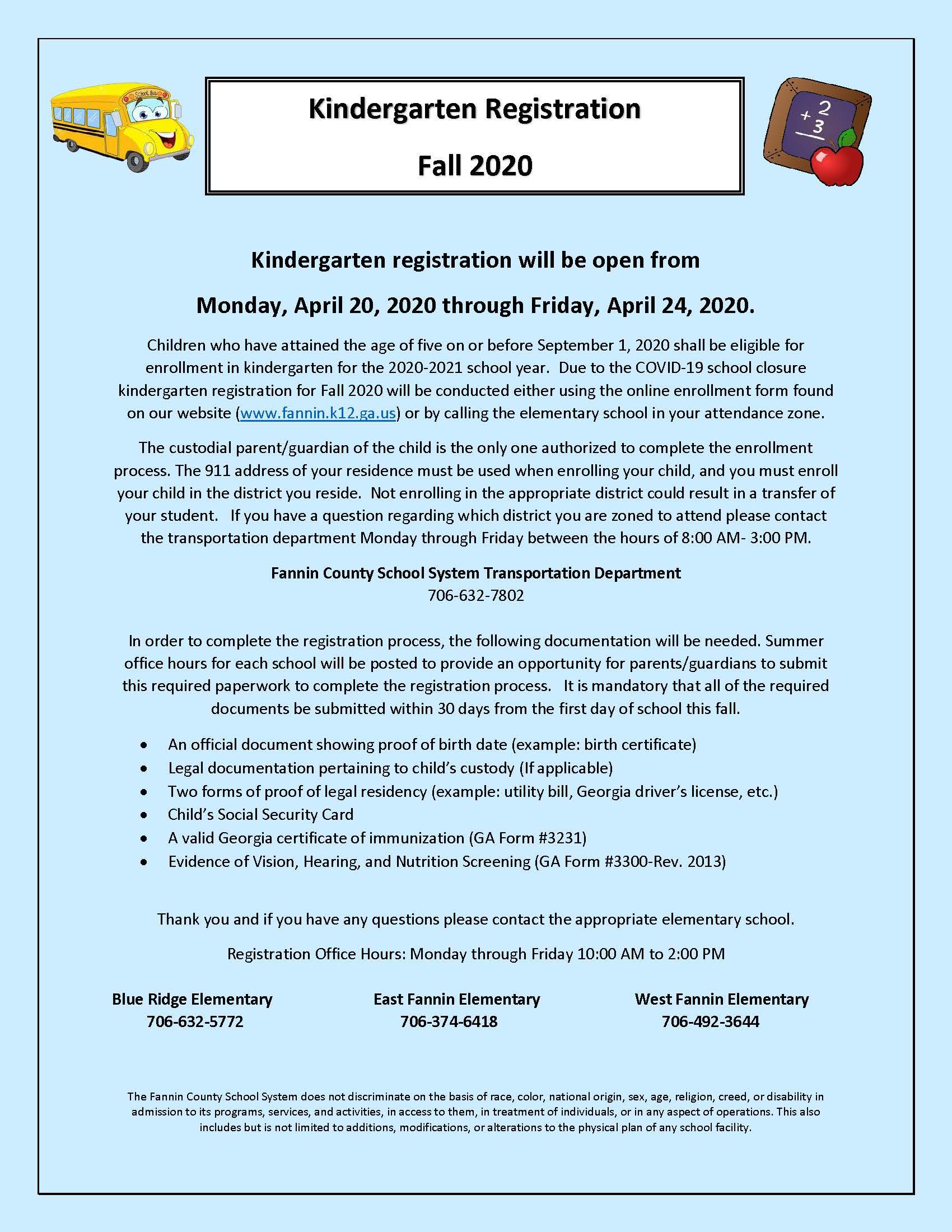 Kindergarten Registration Fall 2020