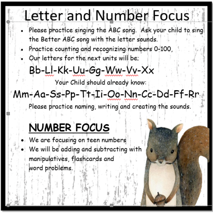 Letter and Number Focus April-May