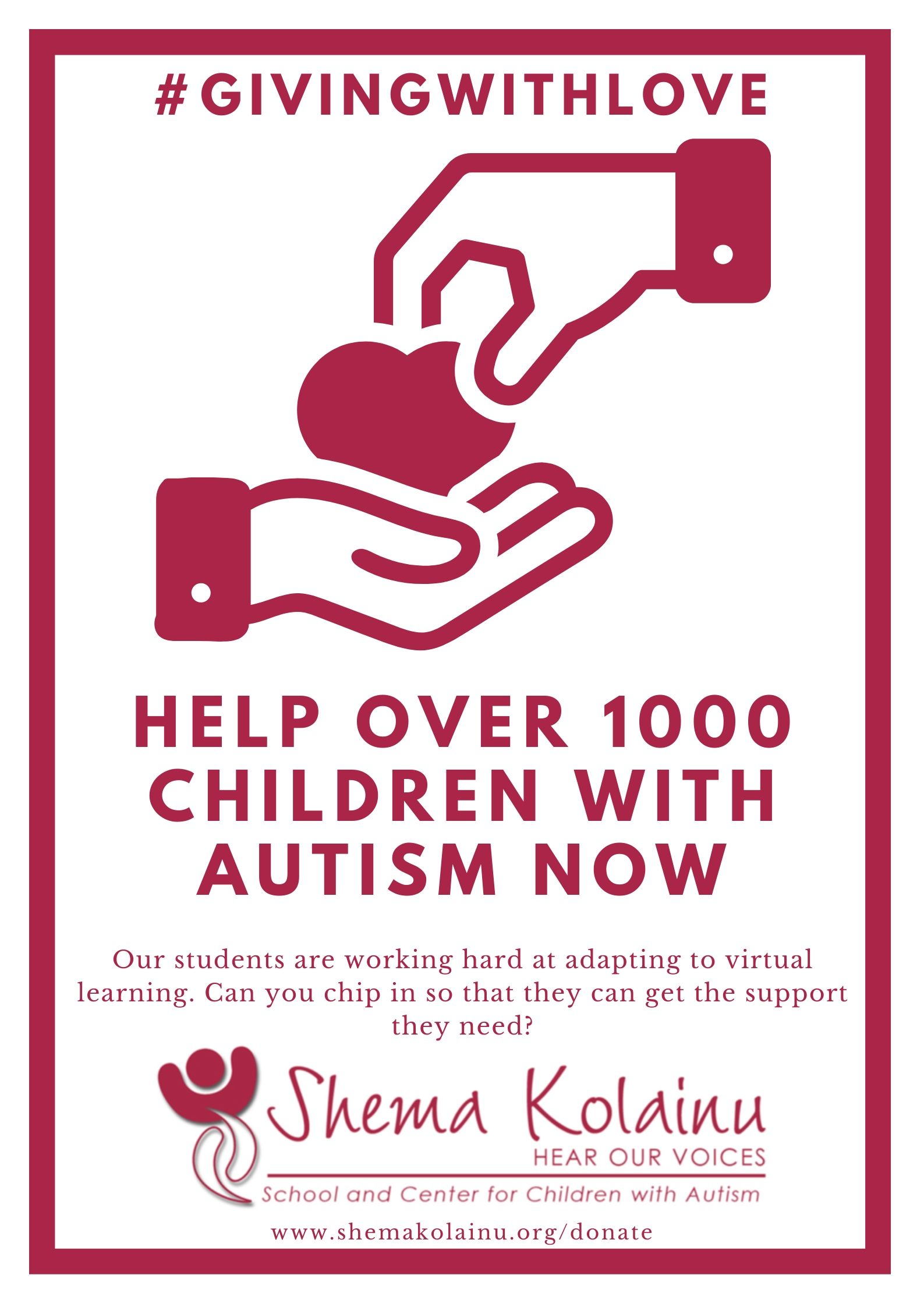 #Givingwithlove - Support over 1000 people with Autism by making a donation to Shema Kolainu - Hear Our Voices