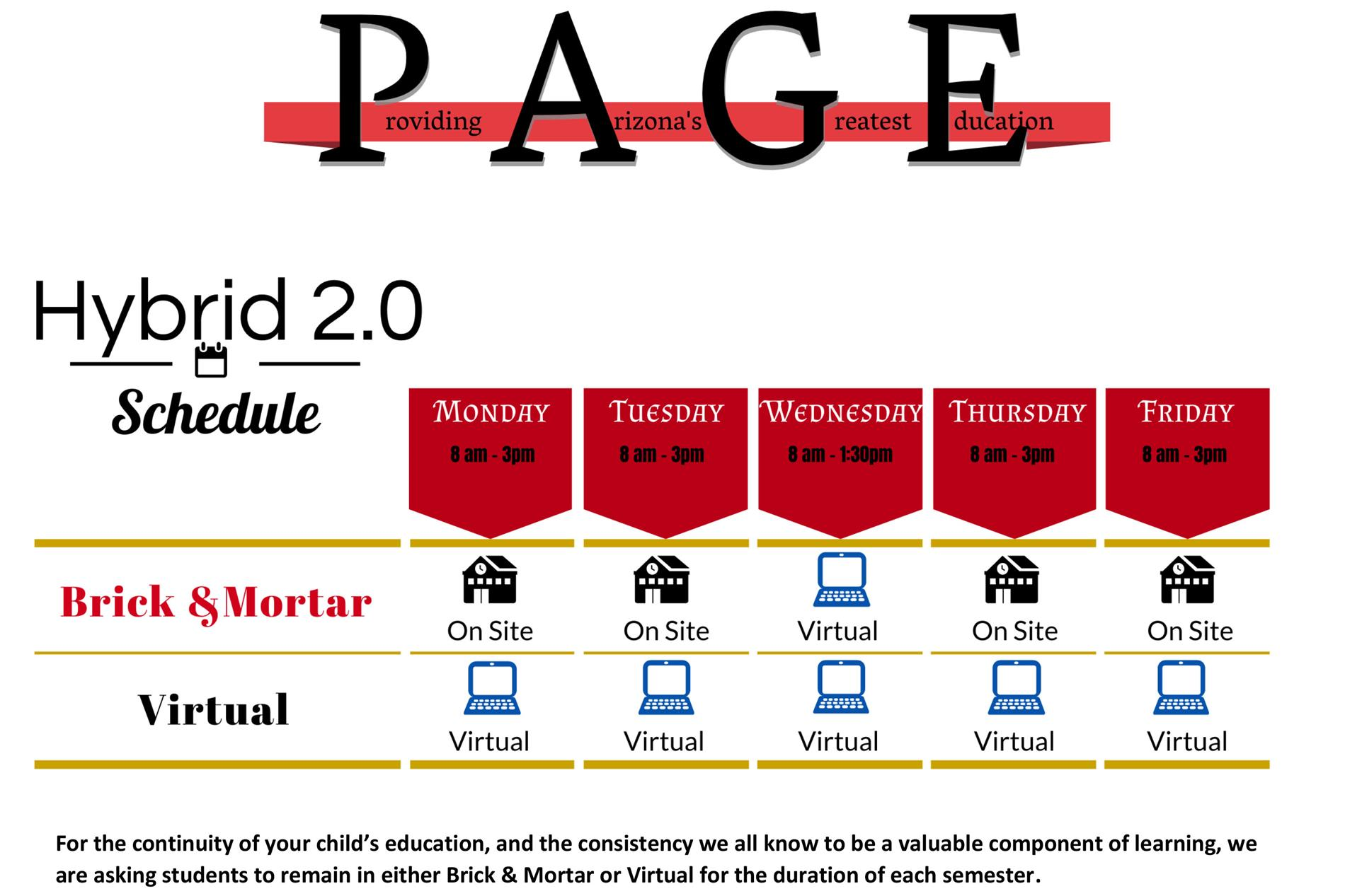 graphic showing PUSD's new hybrid schedule