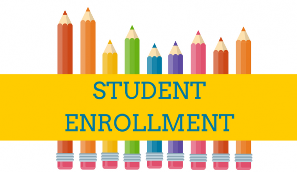 student enrollment with pencils behind words