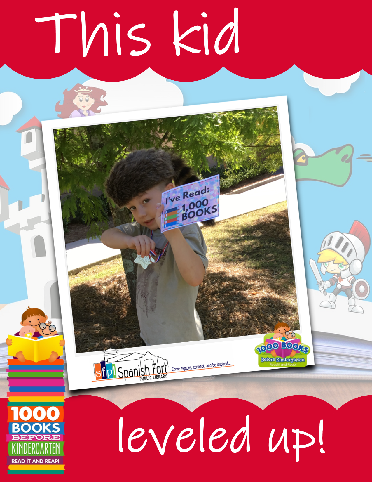 "Photo of a child with a ""I read 1000 books"" certificate and a medal on a ribbon around their neck in a frame with the 1000 Books logo and the Spanish Fort Public Library logo"