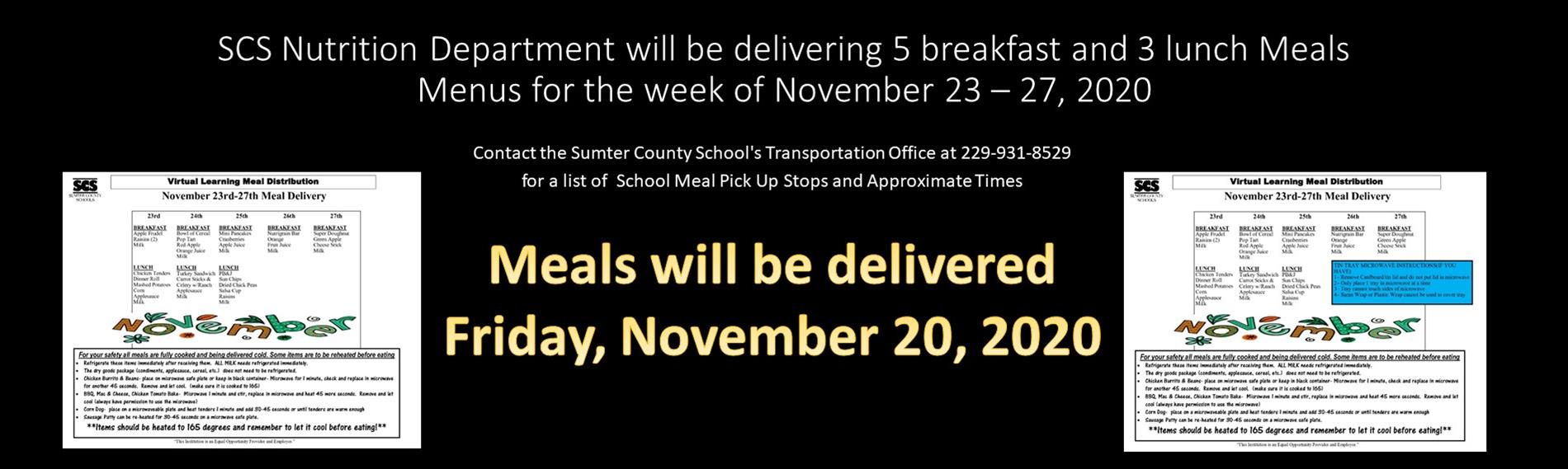 Meals will be delivered Friday, November 20, 2020