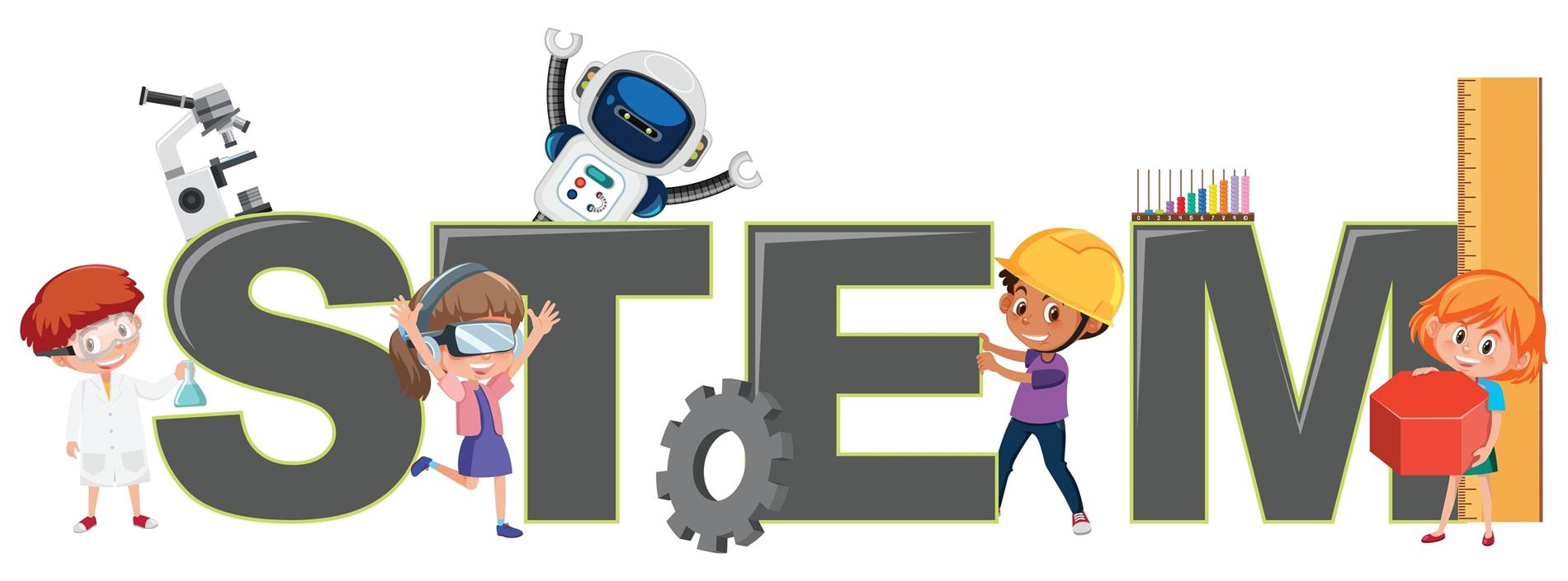 clipart of students with STEM activities