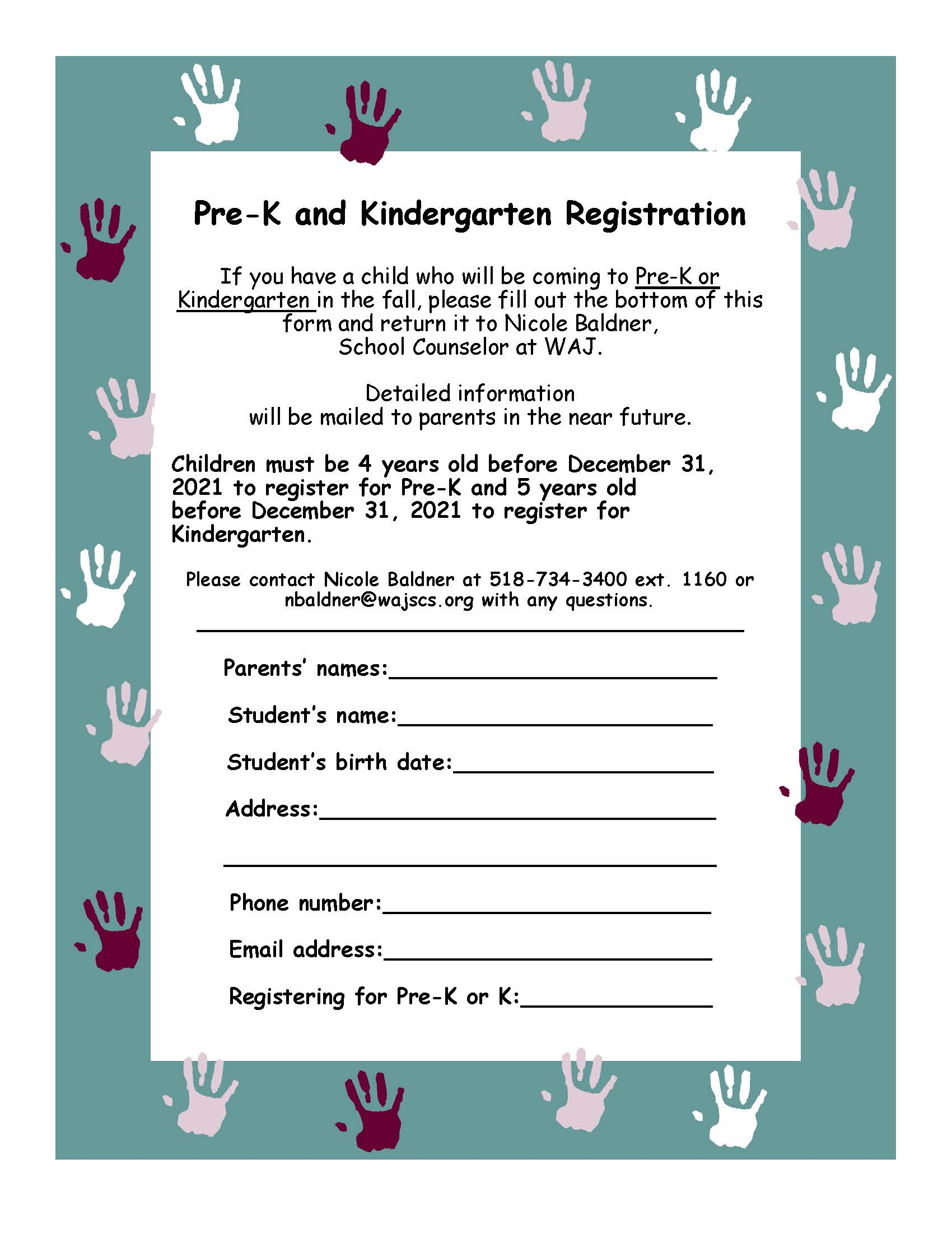 Pre-K and K Flyer 2021