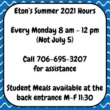 Eton Summer Hours