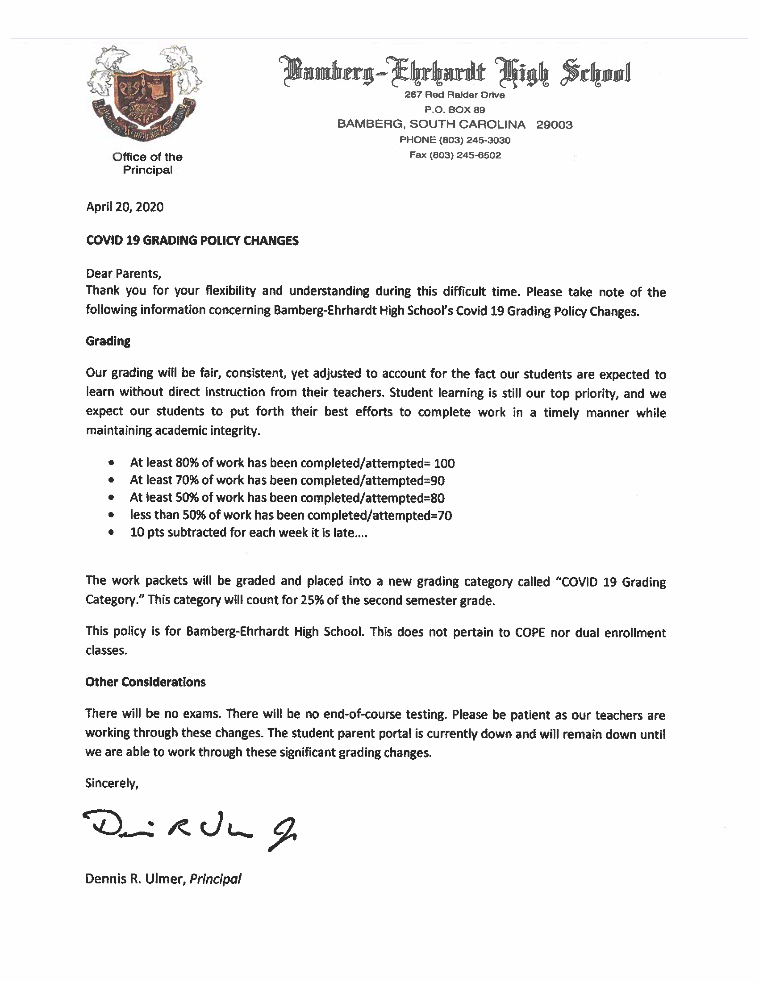 Covid 19 Grading Policy Changes