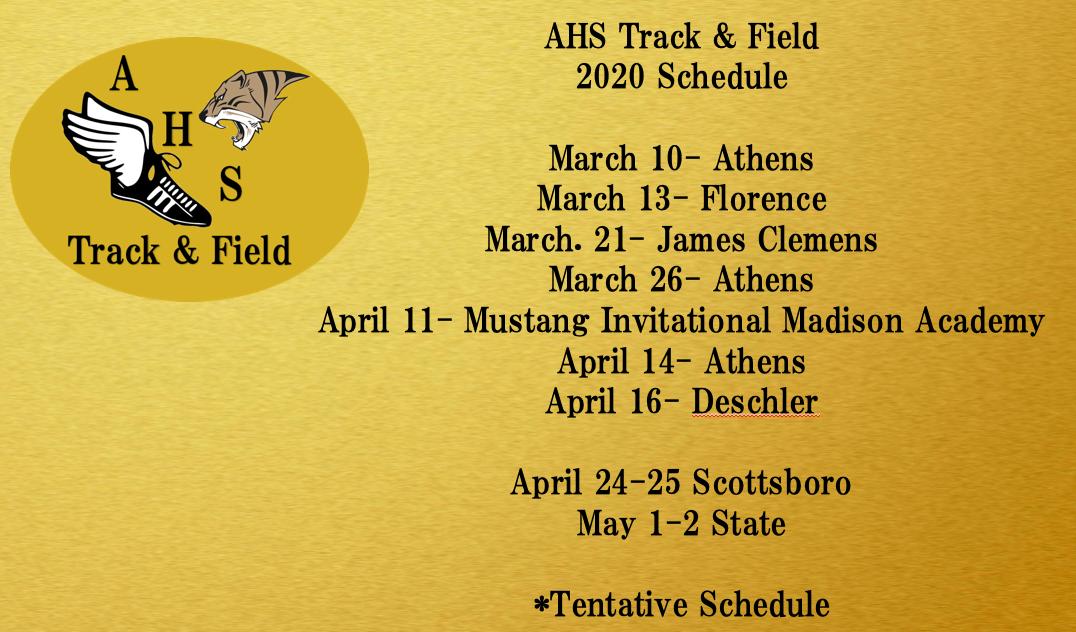 2020 Spring Track & Field Schedule