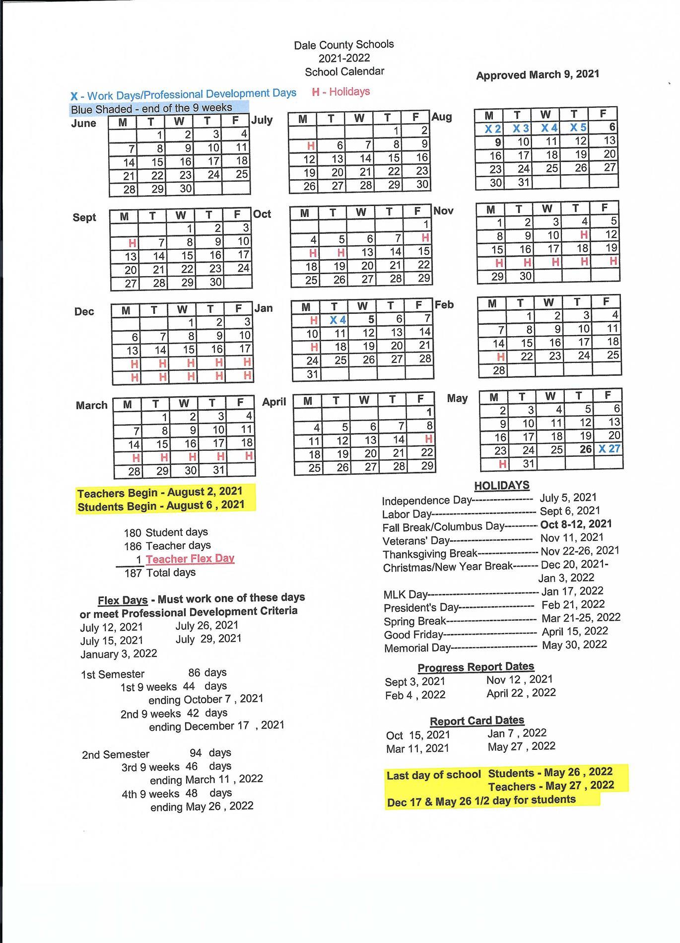 2021-2022 Dale County Schools Calendar