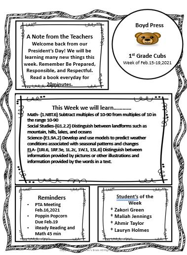 1st grade newsletter