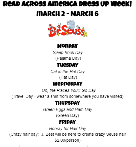 read across america list of dress up days