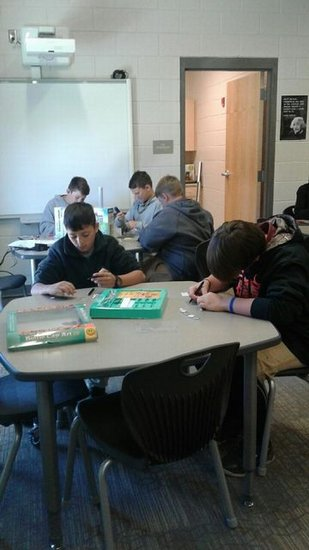 Students work together on a Makerspace activity.