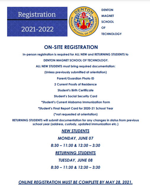 Summer Registration Info