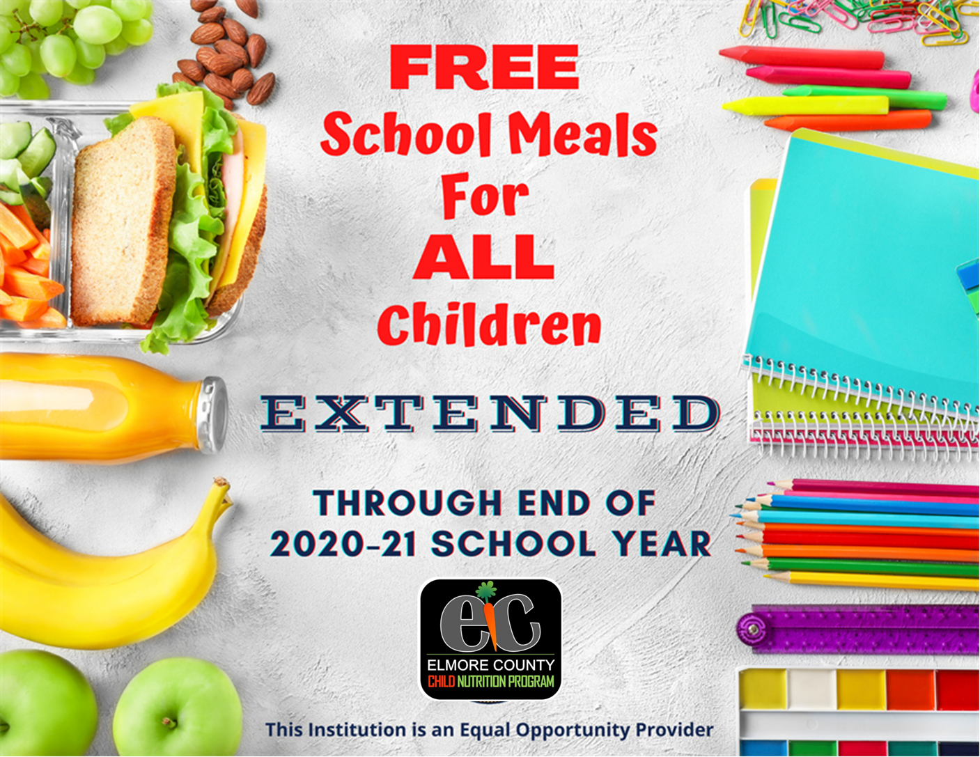 Free Meals through the end of the 20-21 School Year!