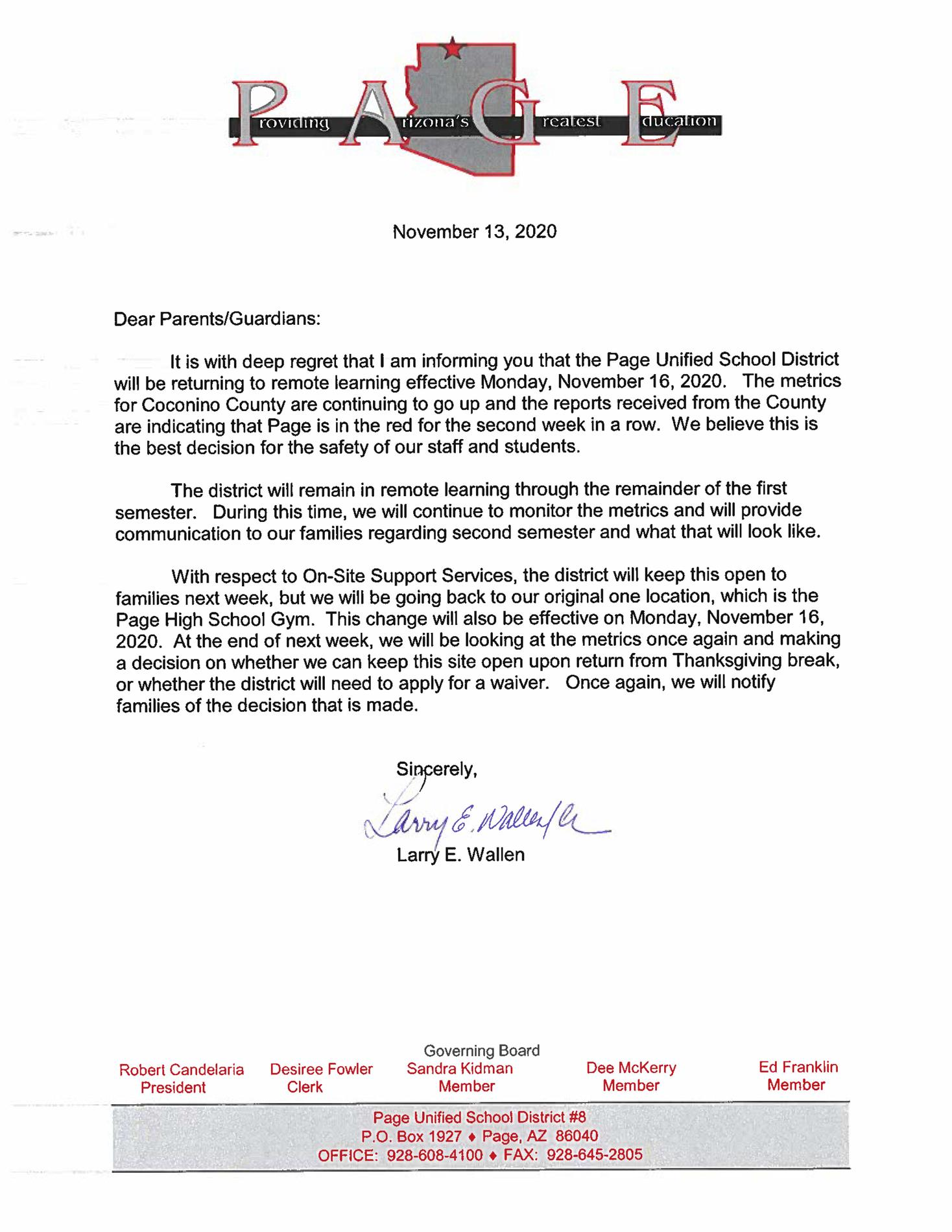 Supt. Wallen's letter regarding PUSD's return to remote learning