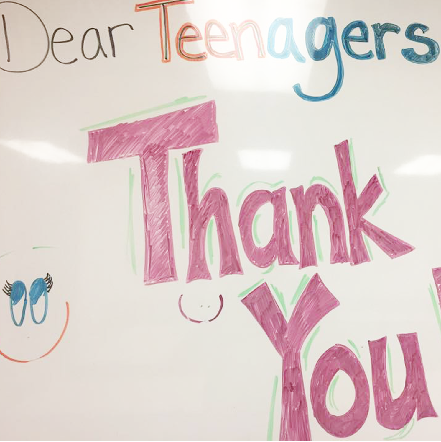 """Dear Teenagers THANK YOU!"" whiteboard message from SFPL library staff to teen volunteers"
