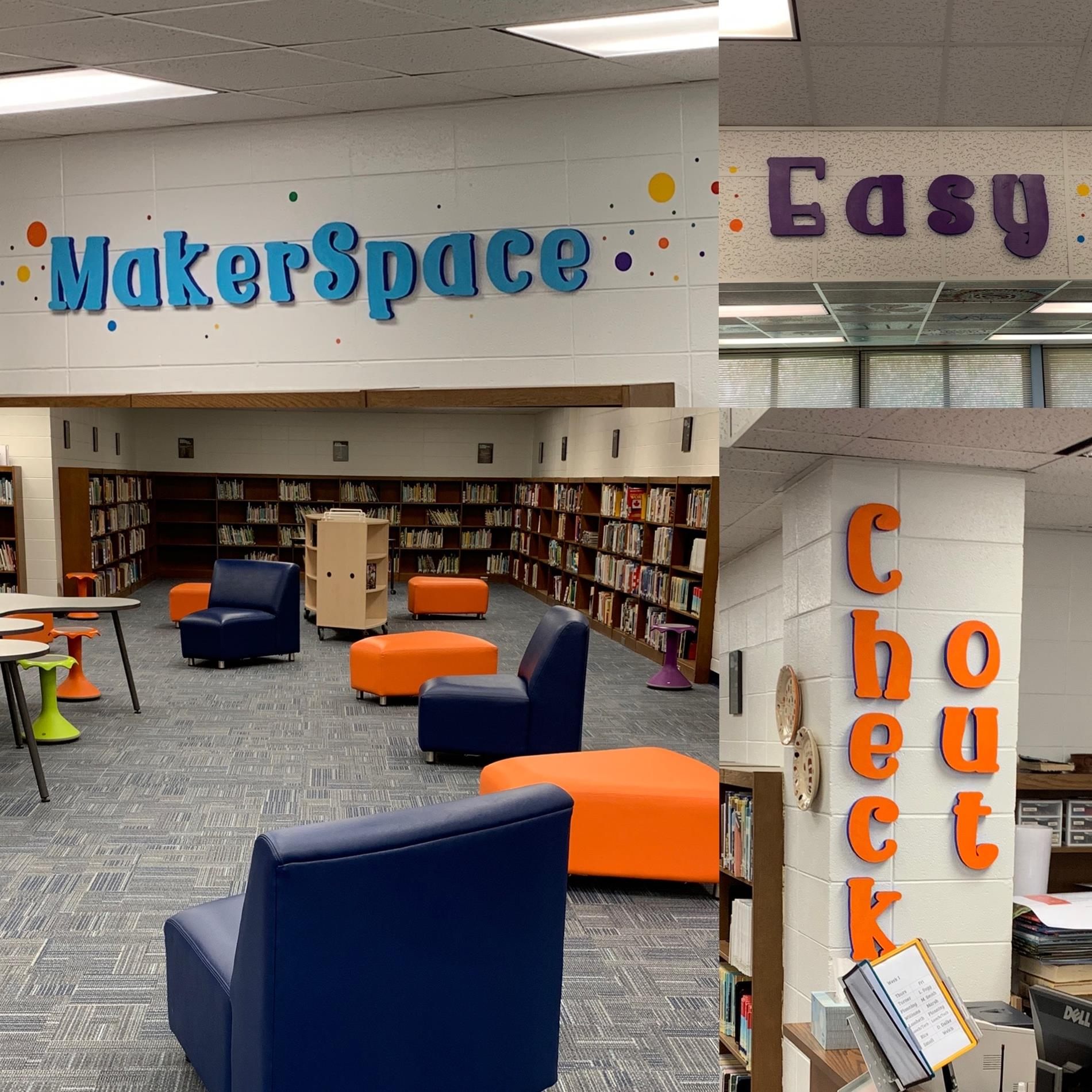 New library section words MakerSpace, Easy, and Check out