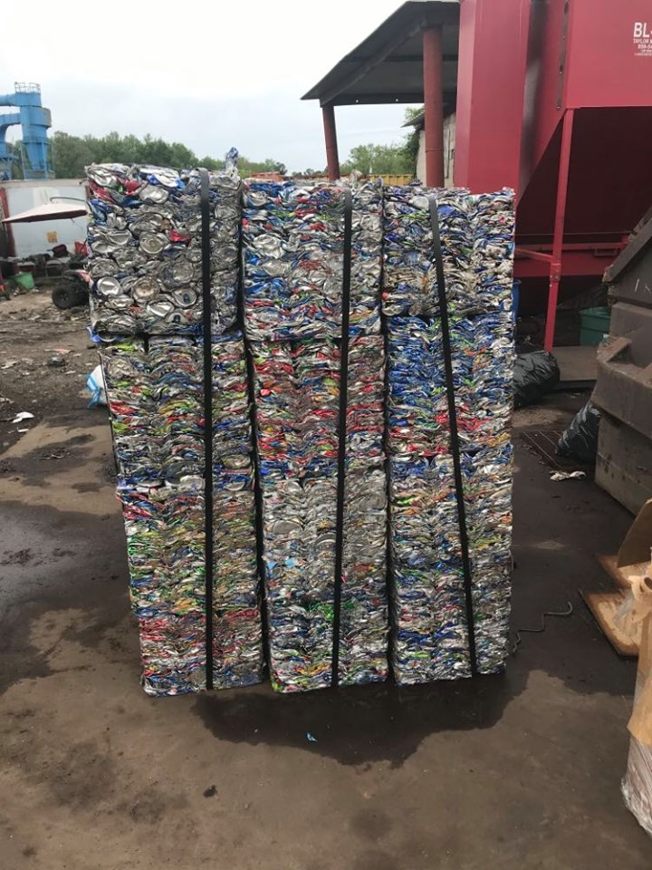 Crushed cans that were collected