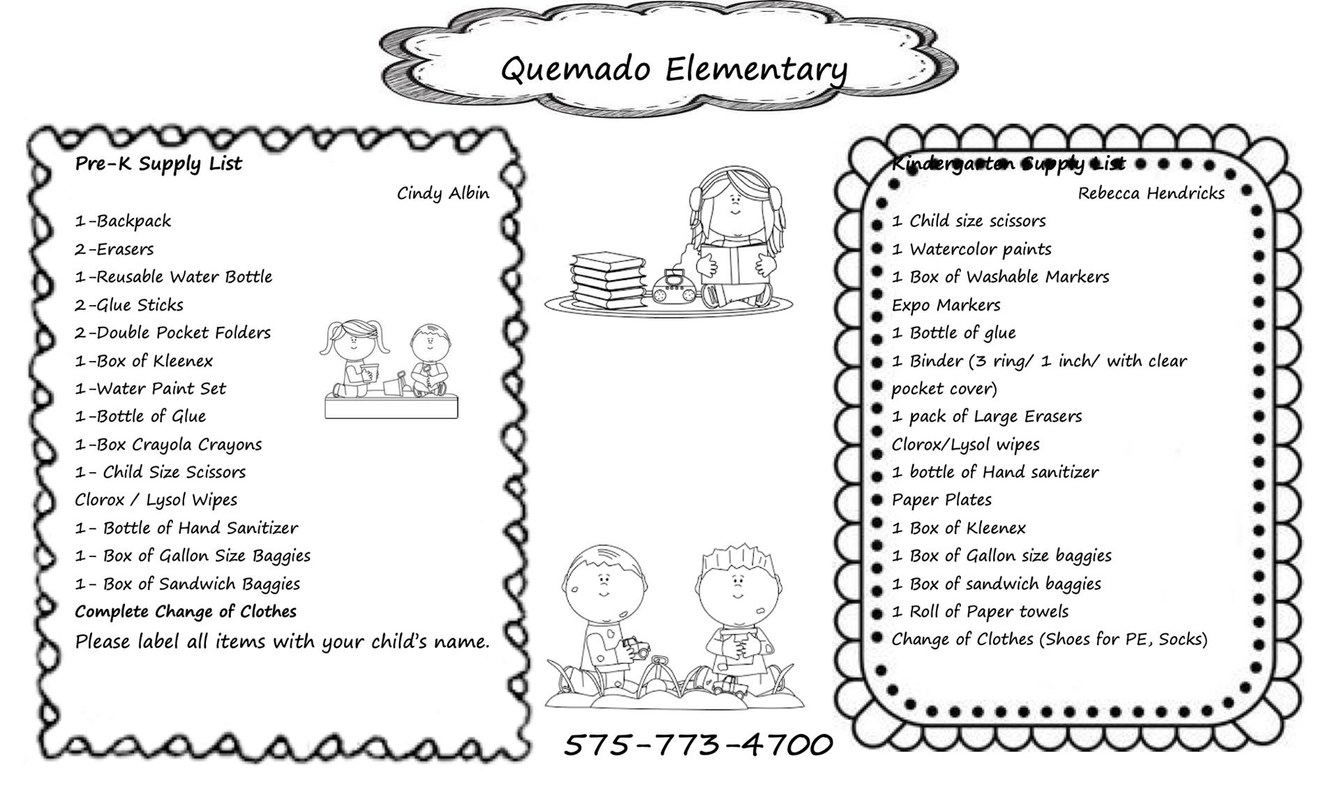 Quemado Pre-K & Kindergarten Supply List