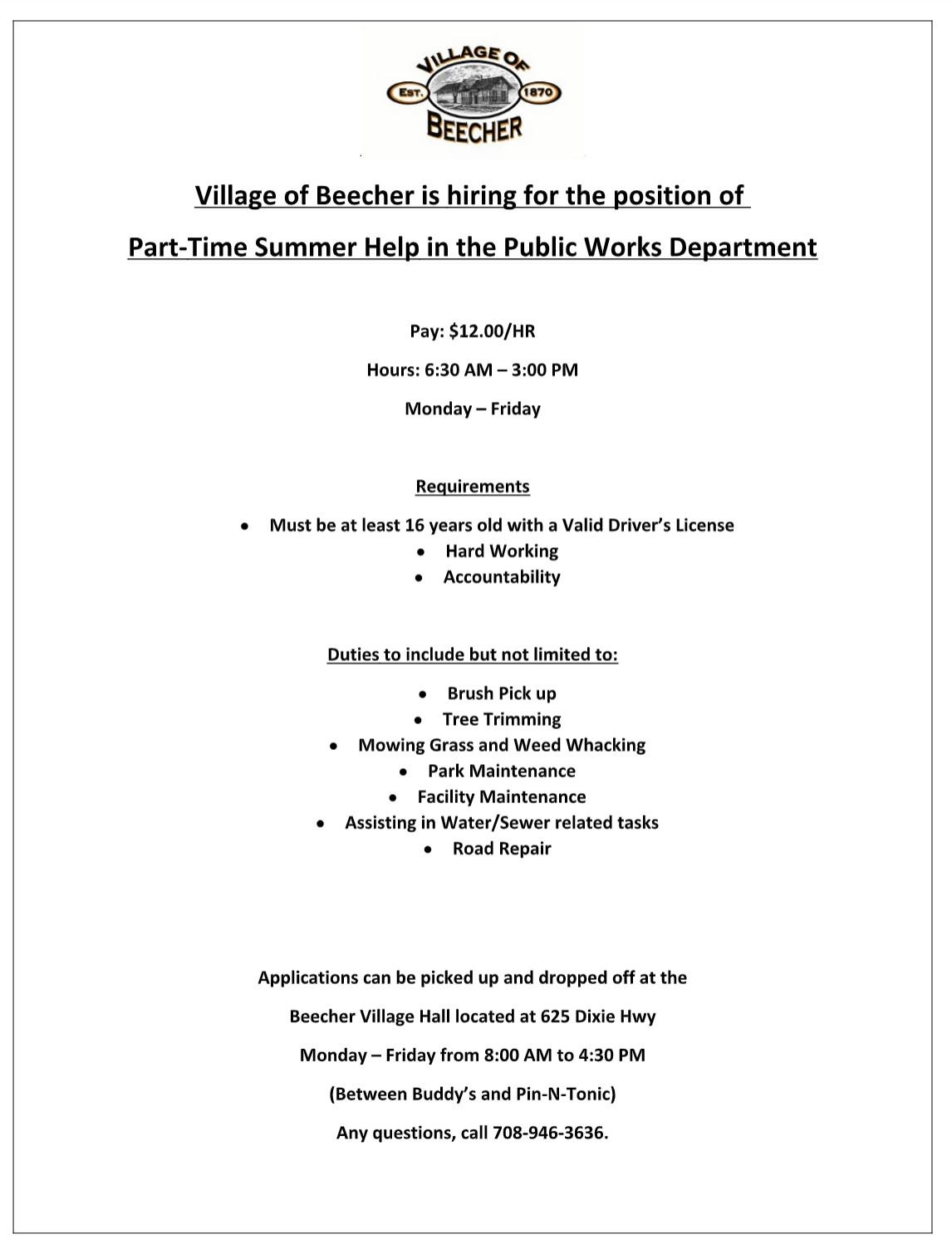 Village of Beecher Hiring