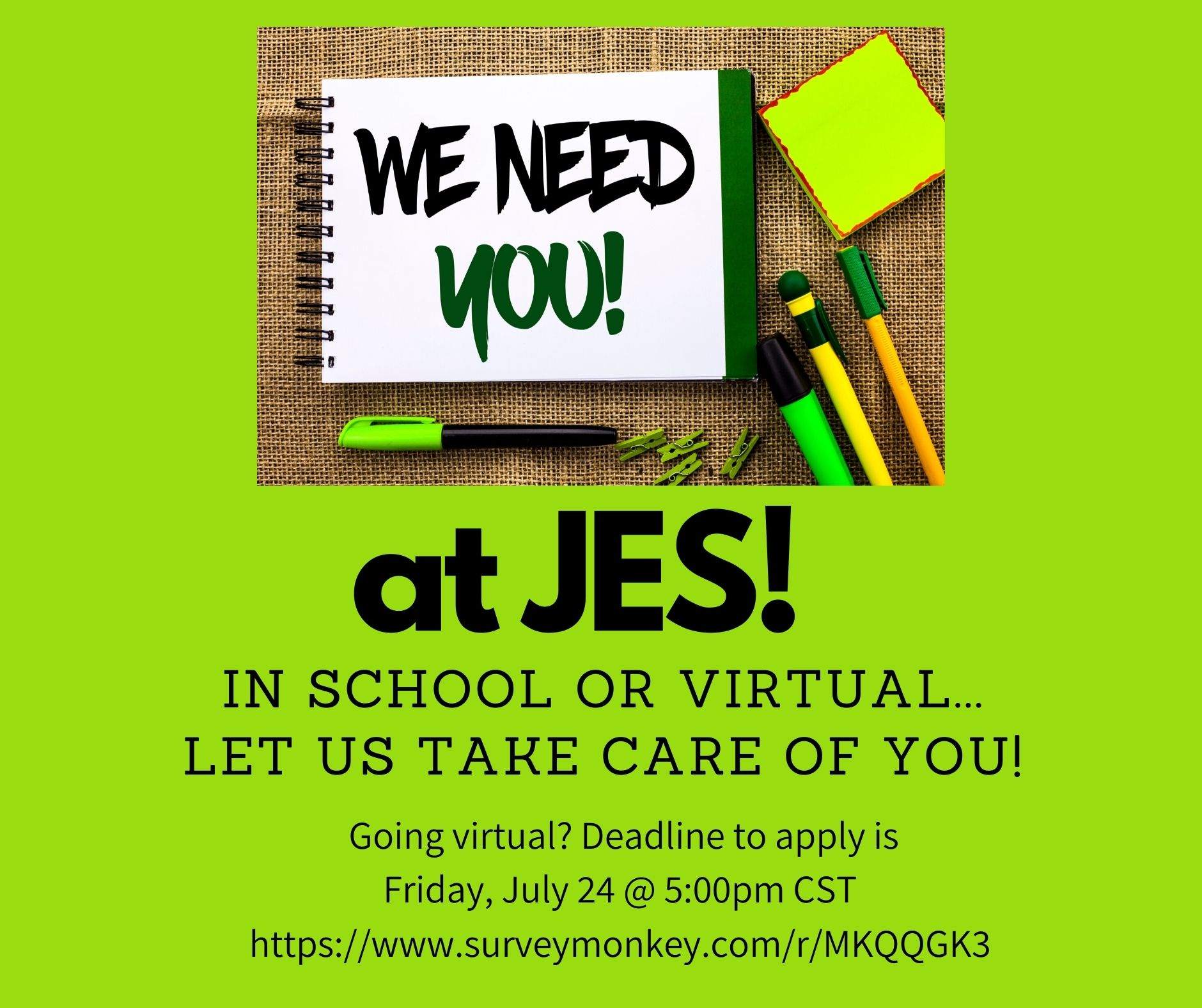 We Need You at JES