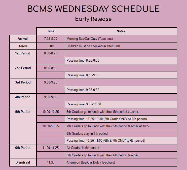 Wednesday Schedule 2021