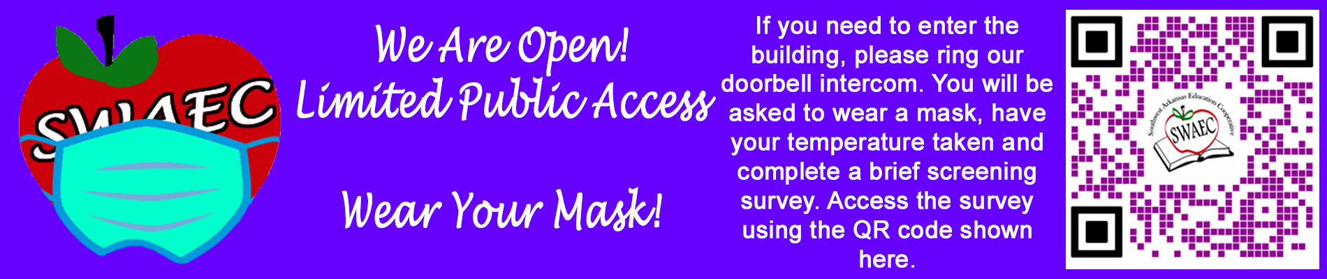 Please wear a mask at all times inside our building