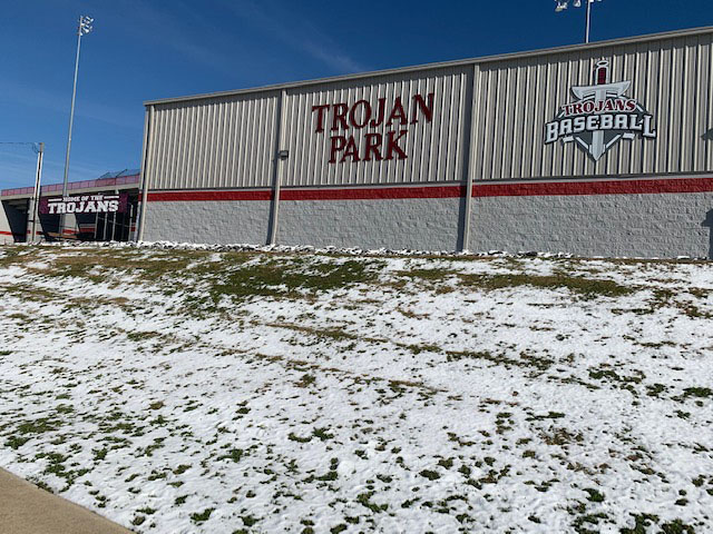 Baseball Practice Facility in Snow