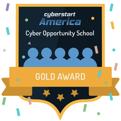 "Digital Badge reading ""Cyberstart America Cyber Opportunity School Gold Award"""