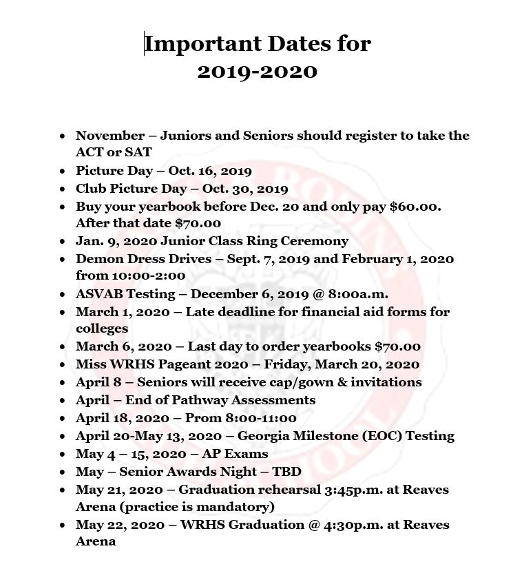 Updated Important Dates March