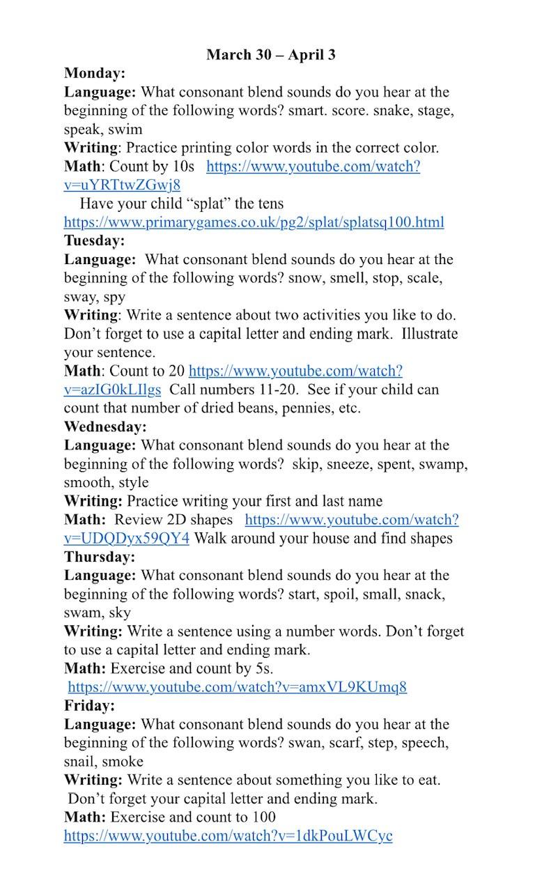 Lesson Plans: March 30- April 3