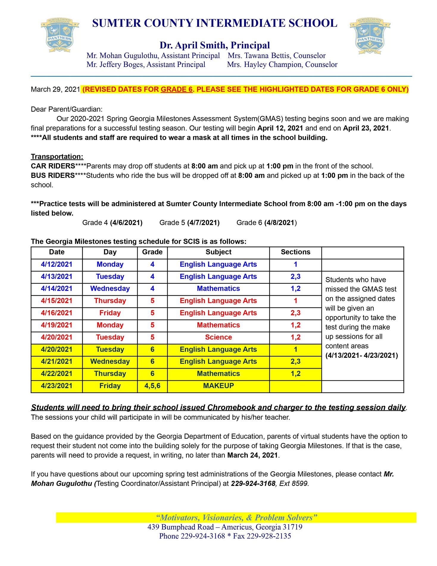 6th Grade Georgia Milestone Testing Updates