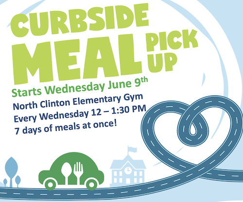 Curbside Meal Pick-up Wednesdays from Noon until 1:30 PM